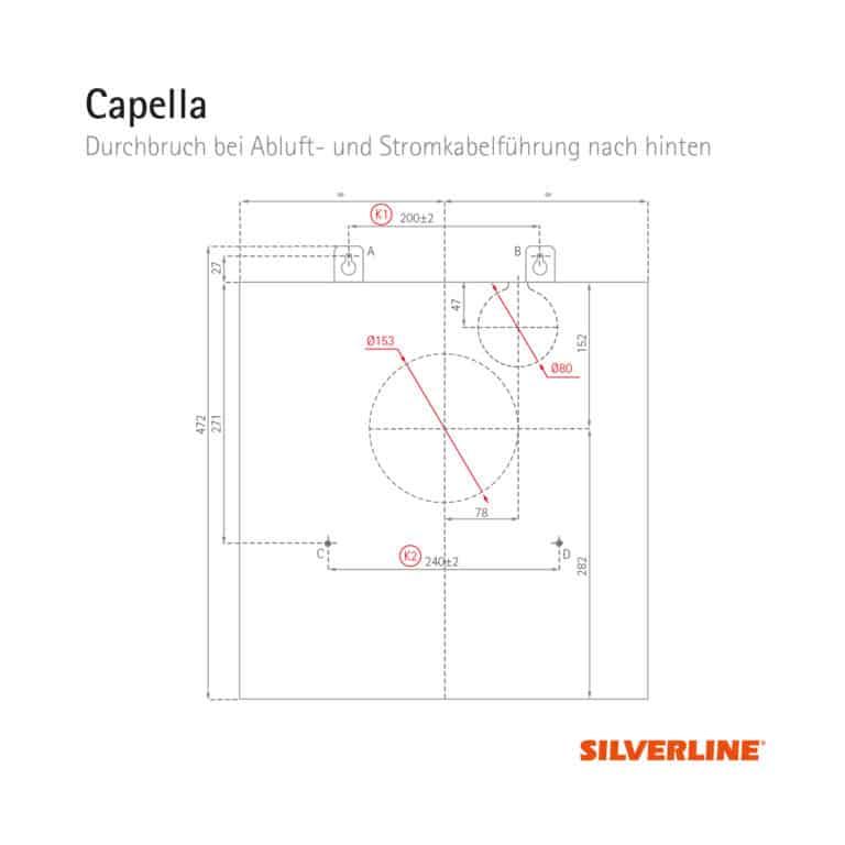 Durchbruch bei Abluft- und Stromkabelführung nach hinten (ohne Montage des Schachts) Capella