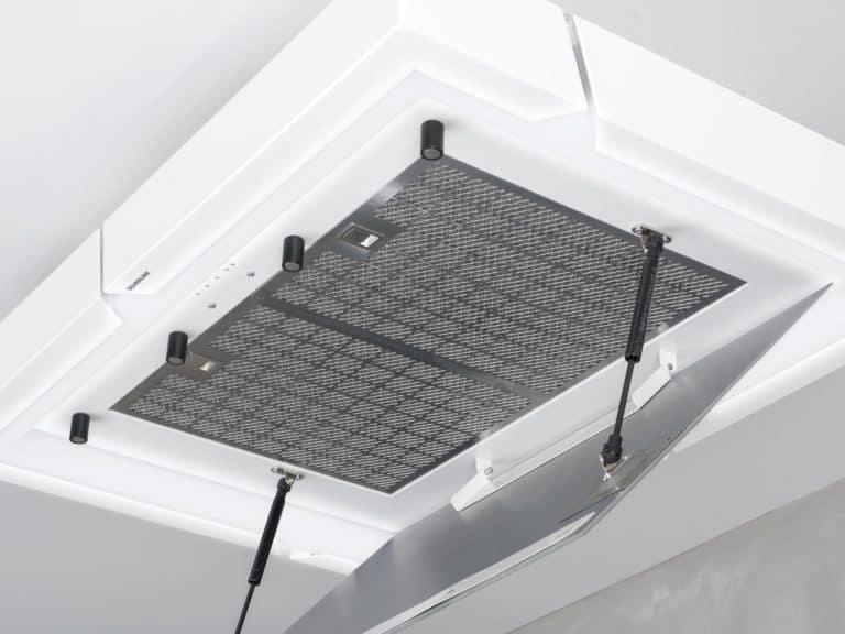 Weiß / Weißglas, 100 cm,<br /> mit 2 x Edelstahl-Metallfettfi lter