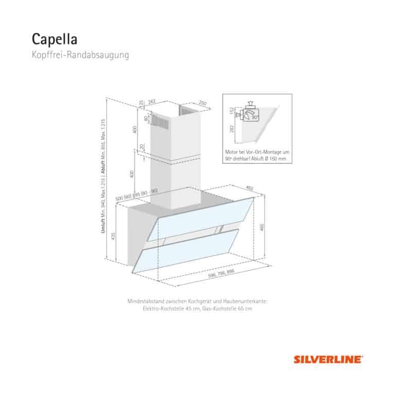 Maßzeichnung Capella Mindestabstand zwischen Kochgerät und Haubenunterkante: Elektro-Kochstelle 45 cm, Gas-Kochstelle 65 cm