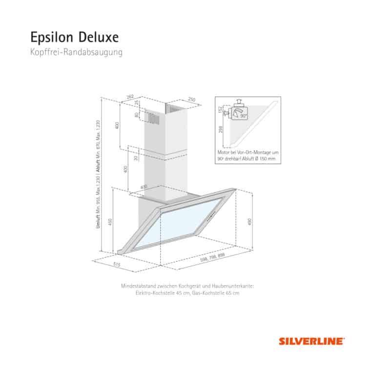 Maßzeichnung Epsilon Deluxe Mindestabstand zwischen Kochgerät und Haubenunterkante: Elektro-Kochstelle 45 cm, Gas-Kochstelle 65 cm