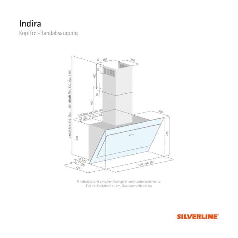 Maßzeichnung Indira Mindestabstand zwischen Kochgerät und Haubenunterkante: Elektro-Kochstelle 45 cm, Gas-Kochstelle 65 cm