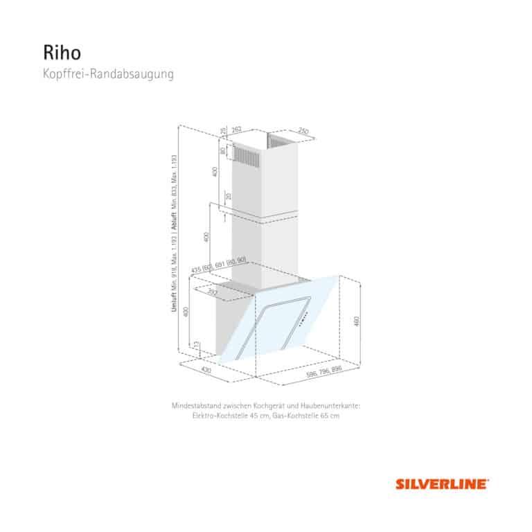 Maßzeichnung Riho Mindestabstand zwischen Kochgerät und Haubenunterkante: Elektro-Kochstelle 45 cm, Gas-Kochstelle 65 cm