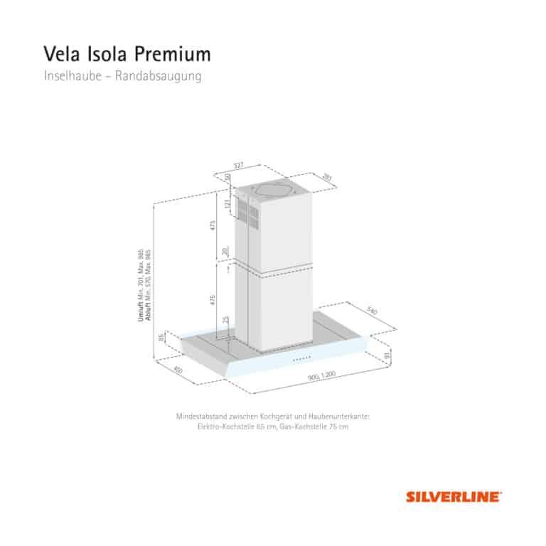 Maßzeichnung Vela Isola Premium Mindestabstand zwischen Kochgerät und Haubenunterkante: Elektro-Kochstelle 65 cm, Gas-Kochstelle 75 cm