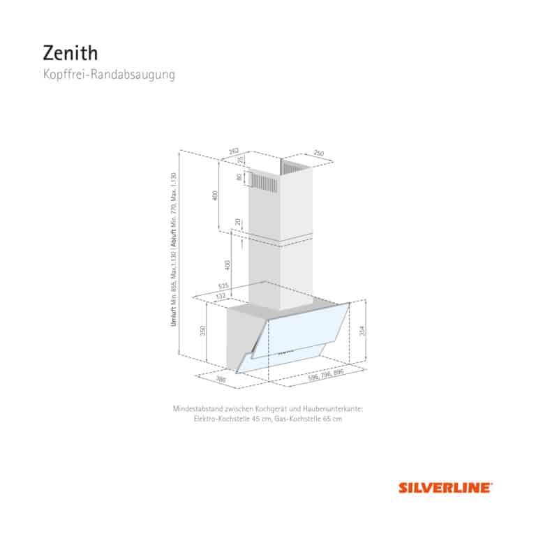Maßzeichnung Zenith Mindestabstand zwischen Kochgerät und Haubenunterkante: Elektro-Kochstelle 45 cm, Gas-Kochstelle 65 cm