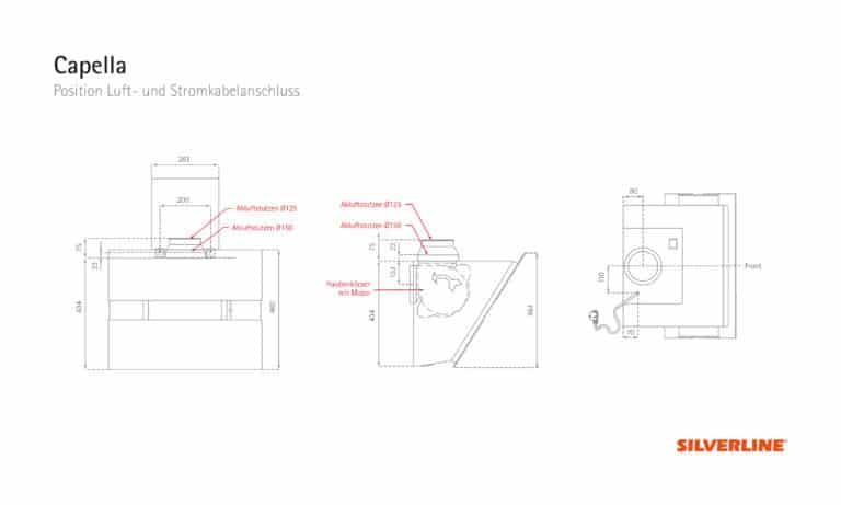 Position Luft- und Stromkabelauslass Capella