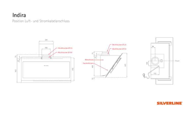 Position Luft- und Stromkabelauslass Indira