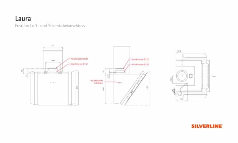 Position Luft- und Stromkabelauslass Laura