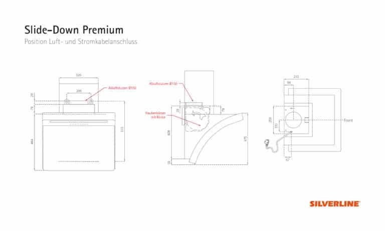 Position Luft- und Stromkabelauslass Slide-Down Premium