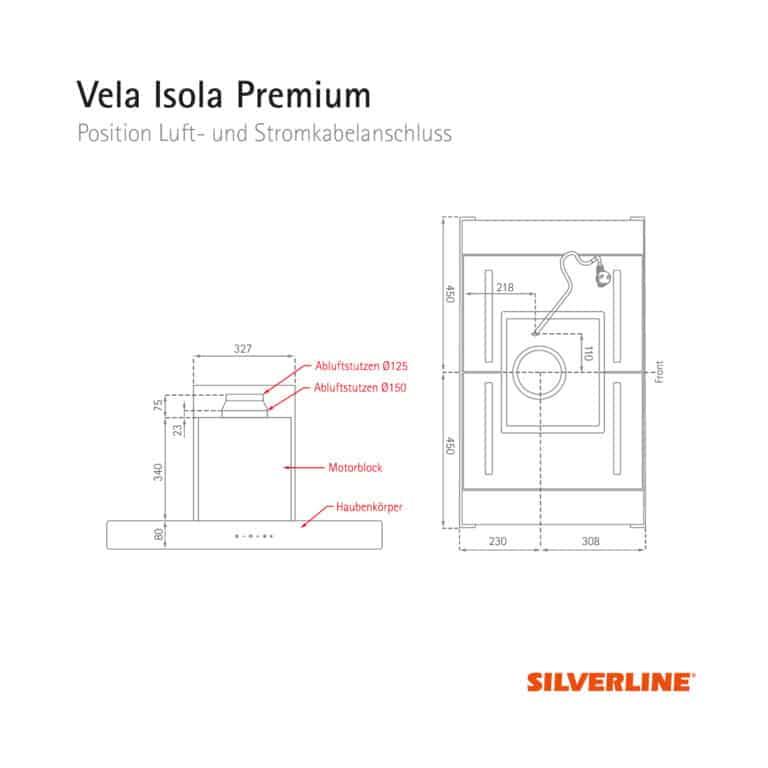 Position Luft- und Stromkabelauslass Vela Isola Premium
