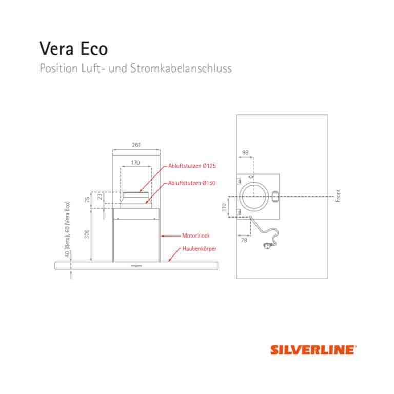 Position Luft- und Stromkabelauslass Vera Eco