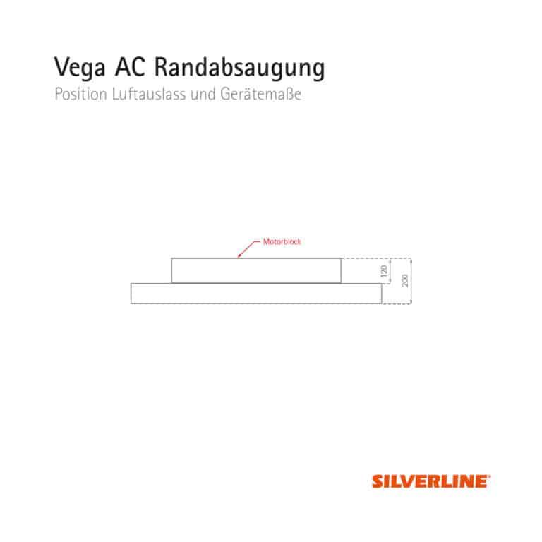 Position Luftauslass und Gerätemaße Vega AC Randabsaugung