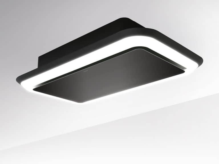 Schwarz / Schwarzglas, 100 cm, Aktivkohle-Wabenfilter seitlich montiert