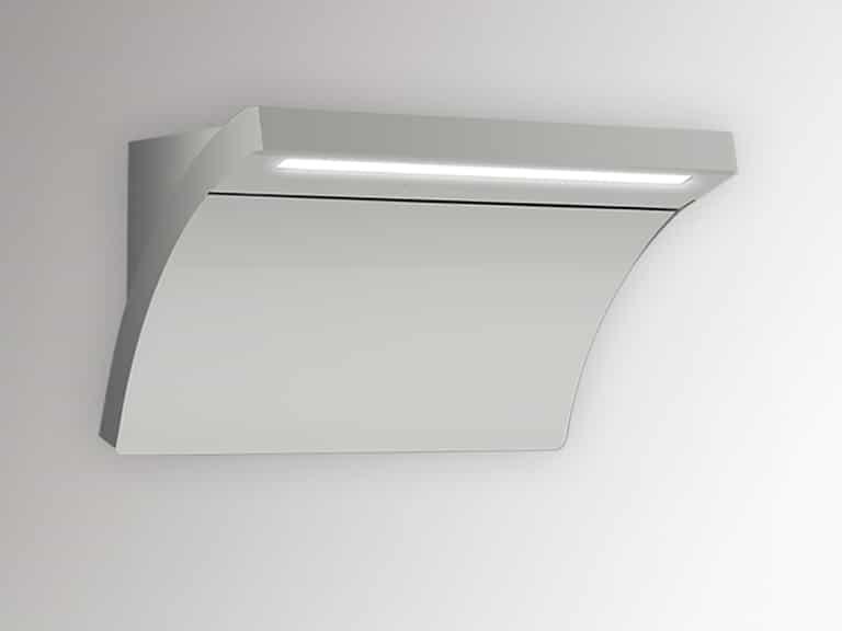 Korpus Edelstahl / Weißglas, geschlossener Glasschirm, ohne Schacht