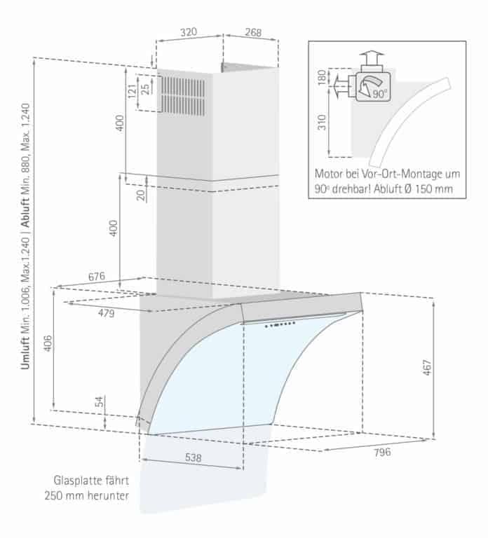 Maßzeichnung Slide-Down Premium Mindestabstand zwischen Kochgerät und Haubenunterkante: Elektro-Kochstelle 45 cm, Gas-Kochstelle 65 cm
