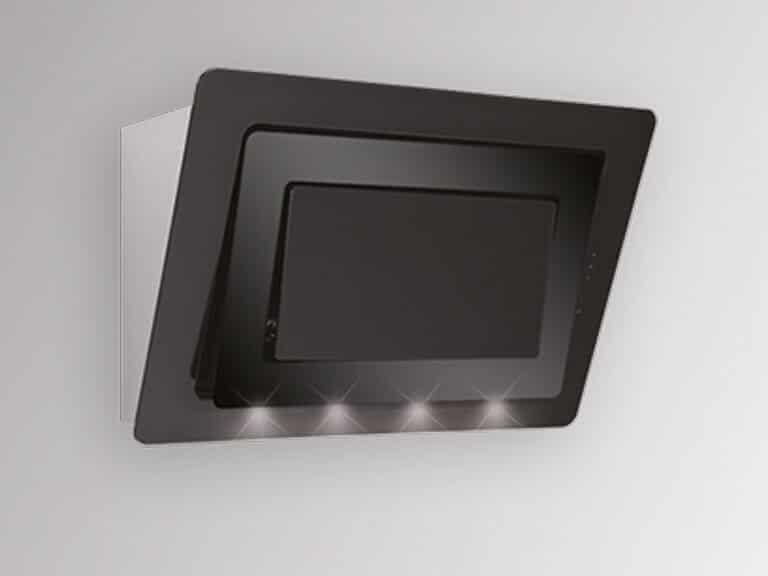 Korpus Edelstahl, mittlerer Glasrahmen in Farbe Schwarz, ohne Schacht