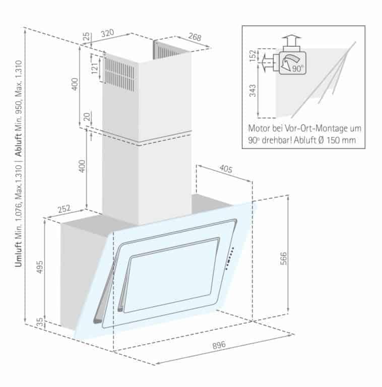 Mindestabstand zwischen Kochgerät und Haubenunterkante: Elektro-Kochstelle 45 cm, Gas-Kochstelle 65 cm