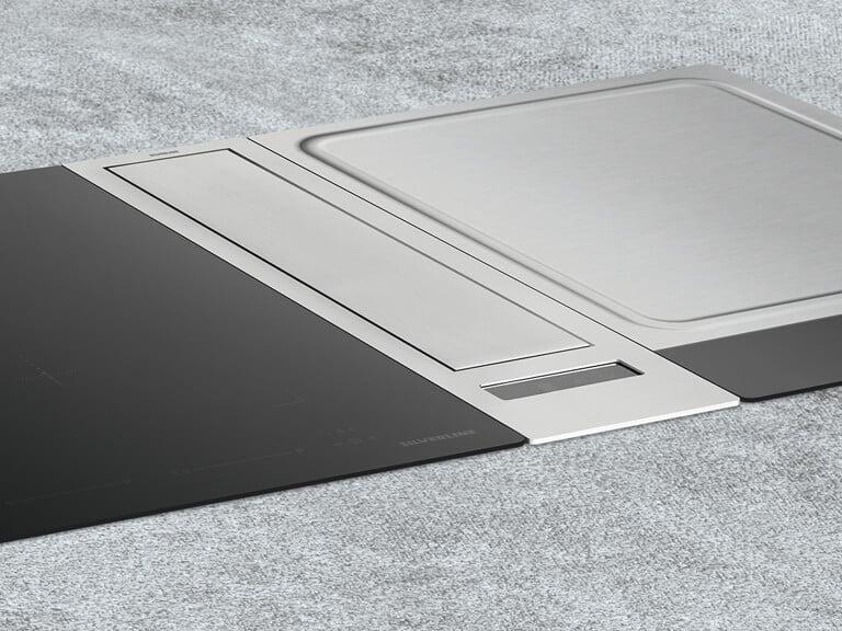 Beispielkombination mit Domino Flexi-Induktionskochfeld<br /> und Teppan Yaki Kochfeld, beide 38 cm breit; Gesamtbreite 89 cm