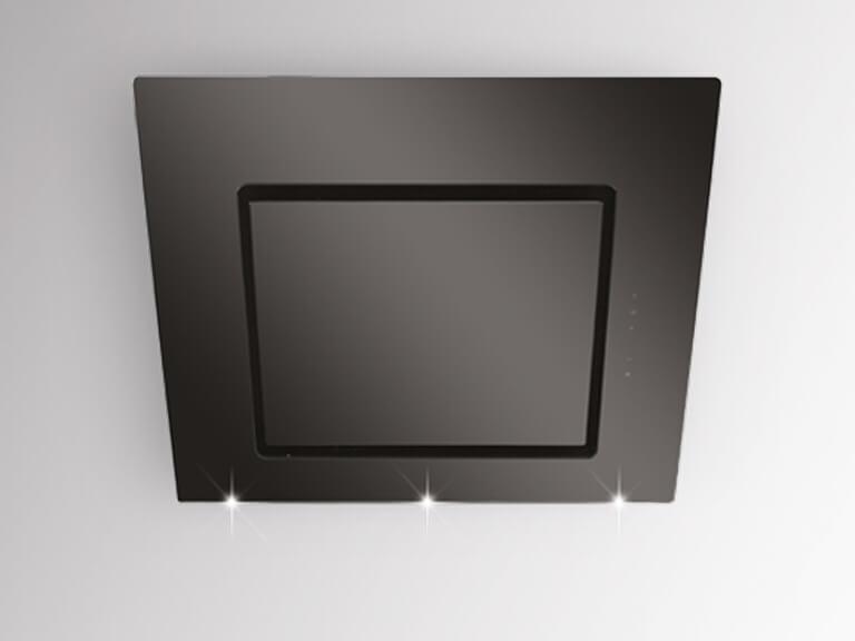Korpus Edelstahl / Schwarzglas, 60 cm, ohne Schacht