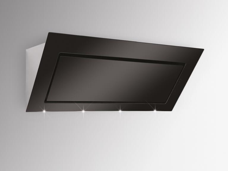 Korpus Edelstahl / Schwarzglas, 120 cm, ohne Schacht<br /> Darstellung ohne Umluftabdeckung