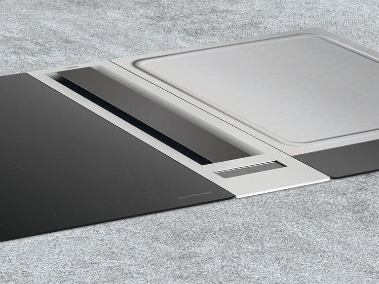 Beispielkombination mit Domino Flexi-Induktionskochfeld und Teppan Yaki Kochfeld, beide 38 cm breit; Gesamtbreite 89 cm