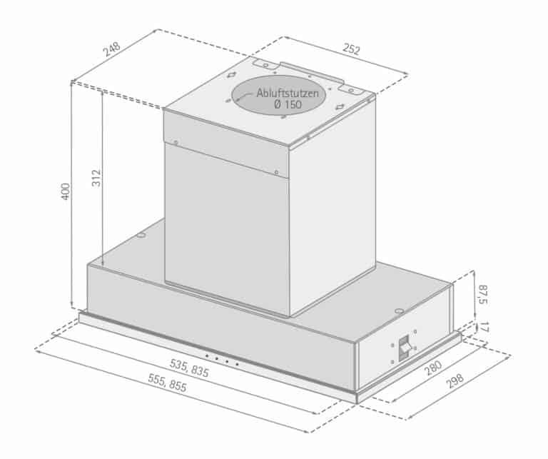 Mindestabstand zwischen Kochgerät und Haubenunterkante: Elektro-Kochstelle 43 cm, Gas-Kochstelle 65 cm