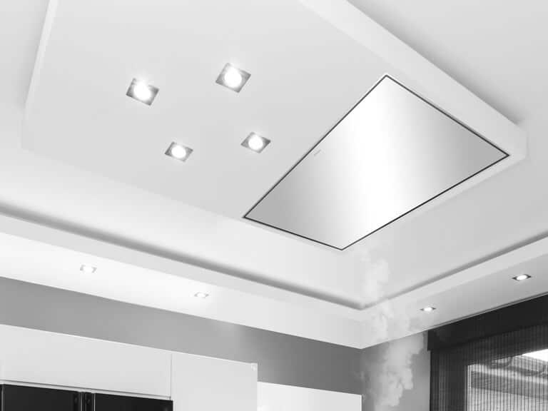 Edelstahl, 100 cm<br /> eingebaut in Abkofferung, keine Haubenbeleuchtung