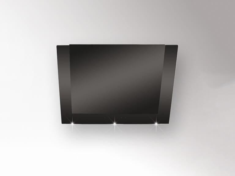 Schwarzer Korpus / Frontplatte und Rahmen Schwarzglas, 60 cm, ohne Schacht<br /> Darstellung ohne Umluftabdeckung