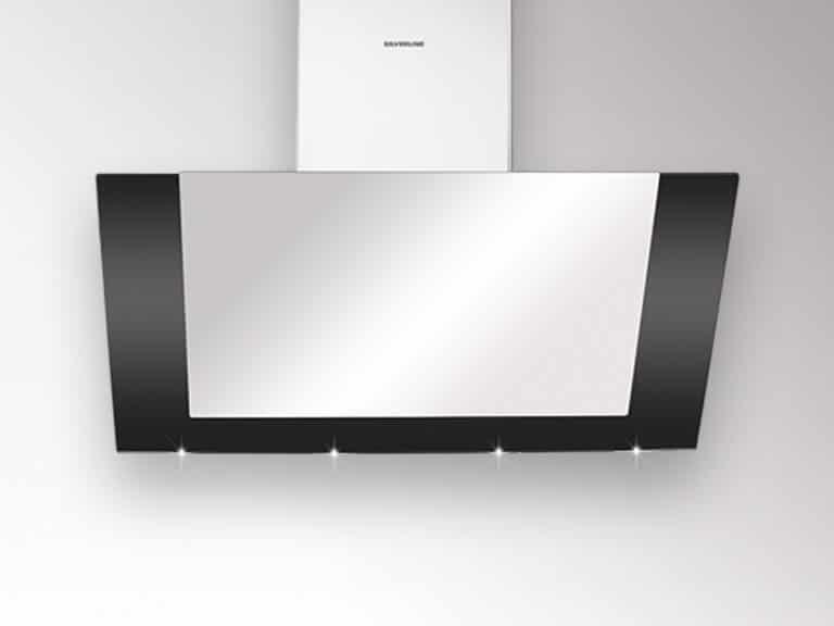 Korpus, Frontplatte und Schacht Edelstahl / Rahmen Schwarzglas, 80 cm