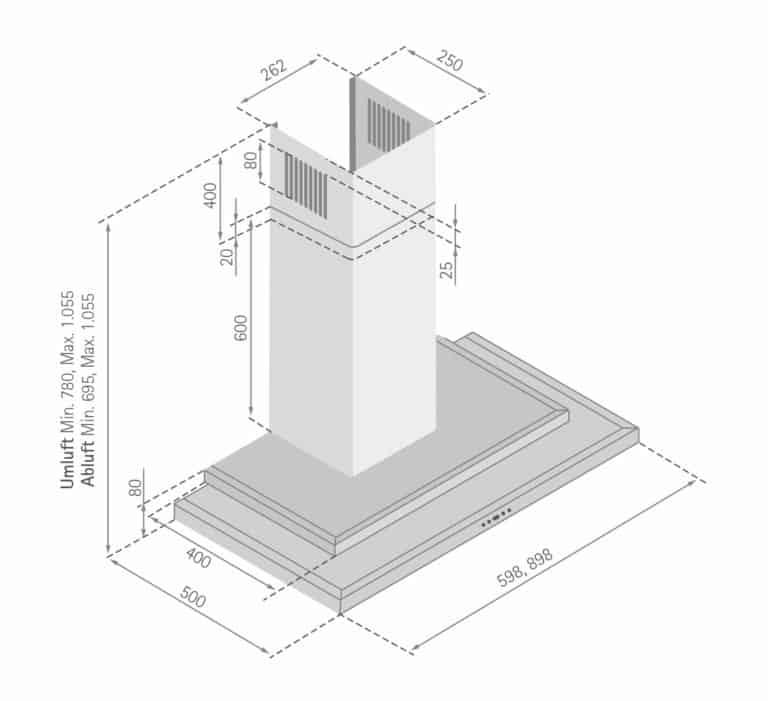 Mindestabstand zwischen Kochgerät und Haubenunterkante: Elektro-Kochstelle 65 cm, Gas-Kochstelle 75 cm