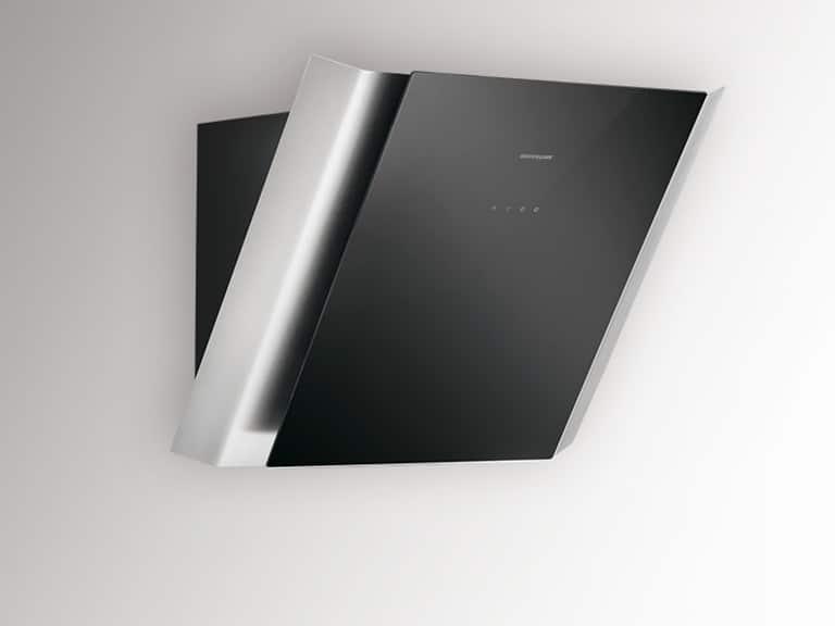 Korpus Schwarz, Front Edelstahl / Schwarzglas, 60 cm, ohne Schacht<br /> Darstellung ohne Umluftabdeckung