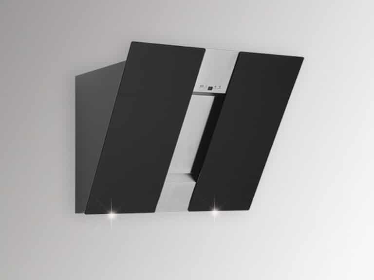 Korpus Schwarz, Front Edelstahl / Schwarzglas, 60 cm, ohne Schacht