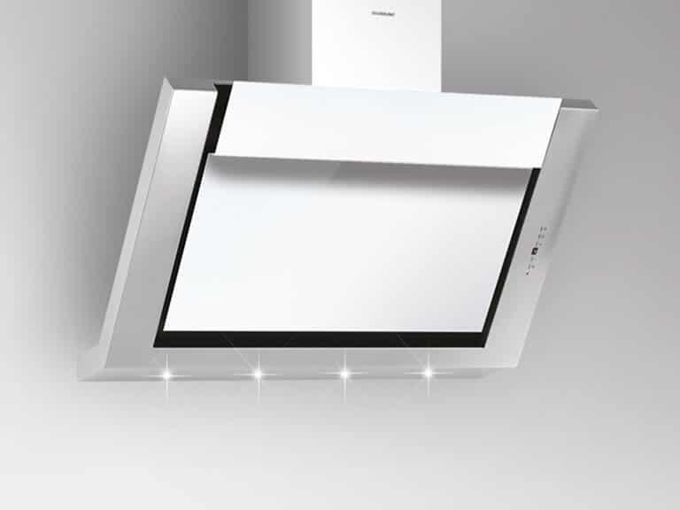 Korpus und Schacht Edelstahl / Weißglas, 80 cm