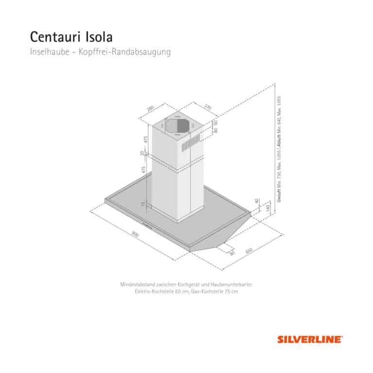 Maßzeichnung Centauri Isola Mindestabstand zwischen Kochgerät und Haubenunterkante: Elektro-Kochstelle 65 cm, Gas-Kochstelle 75 cm