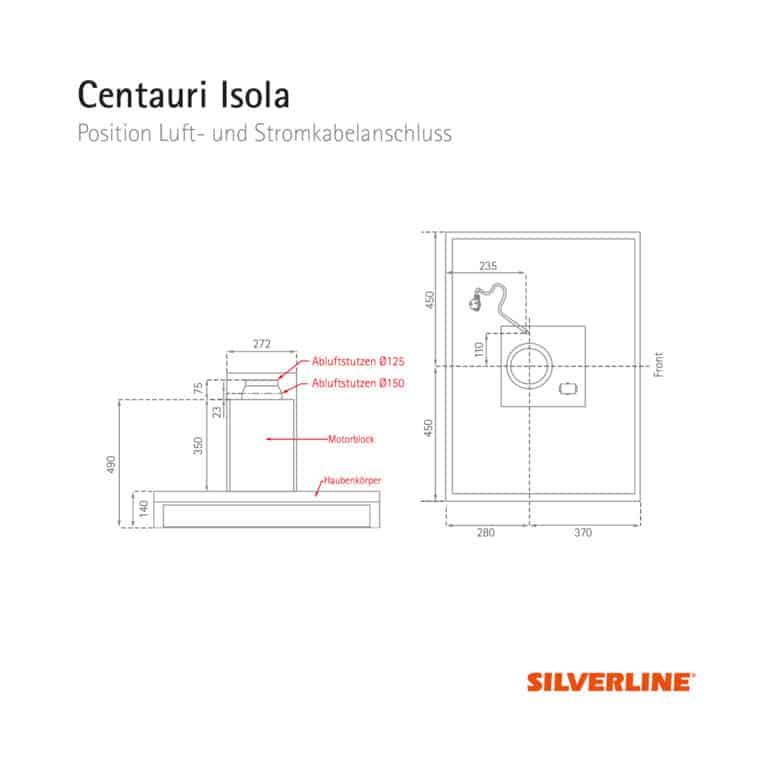 Position Luft- und Stromkabelauslass Centauri Isola