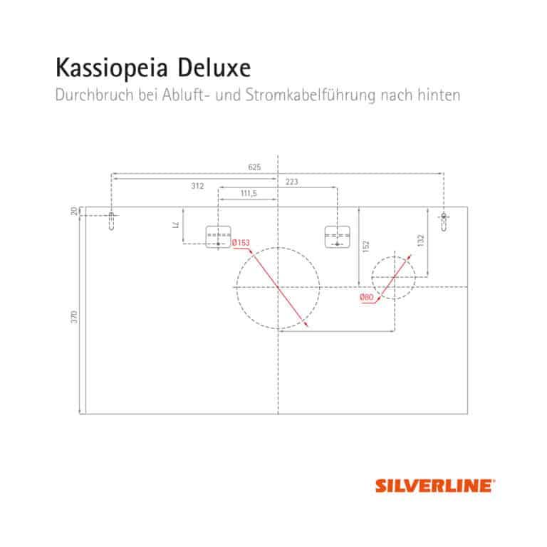 Durchbruch bei Abluft- und Stromkabelführung nach hinten (ohne Montage des Schachts) Kassiopeia Deluxe