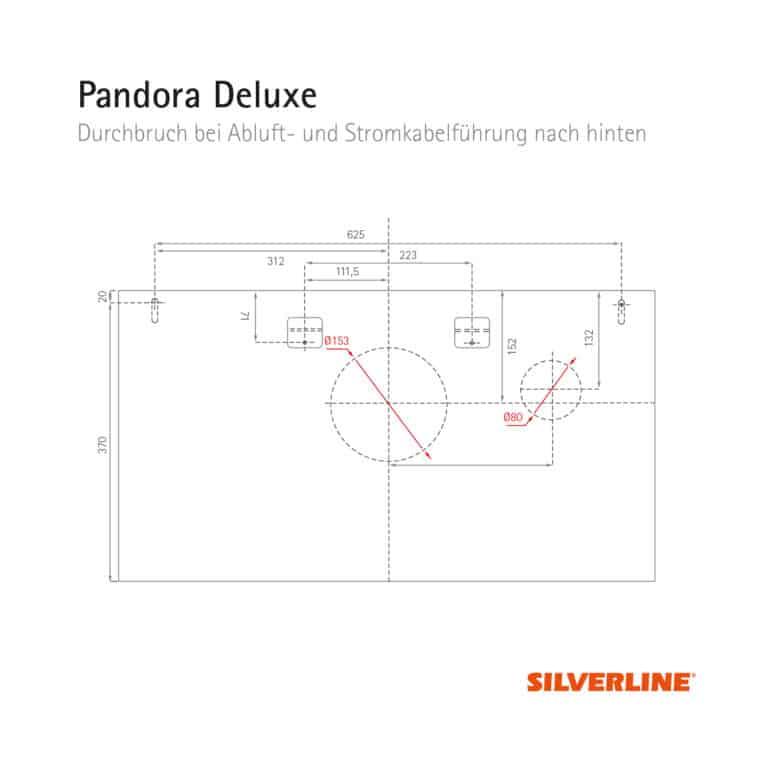 Durchbruch bei Abluft- und Stromkabelführung nach hinten (ohne Montage des Schachts) Pandora Deluxe
