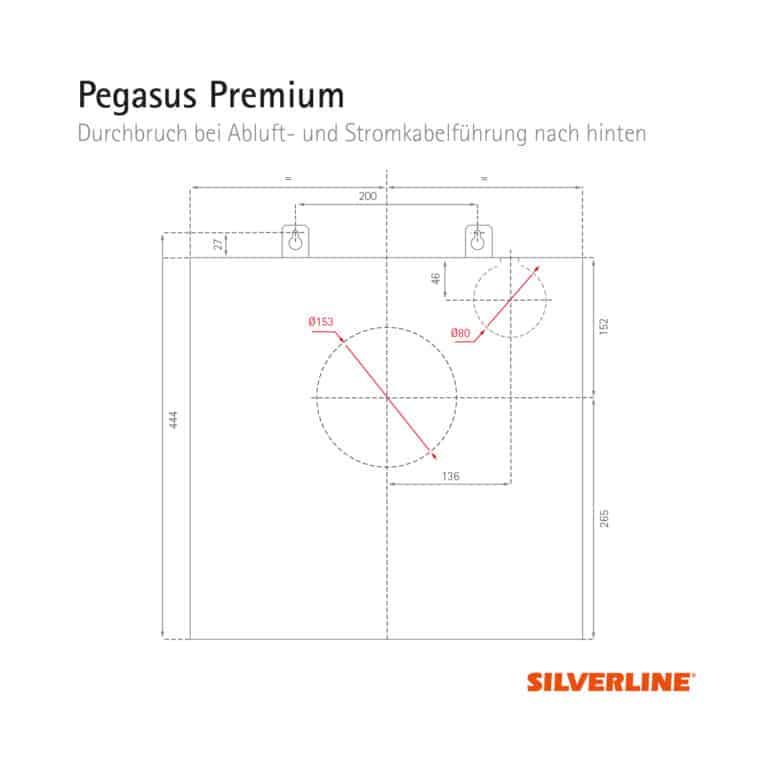 Durchbruch bei Abluft- und Stromkabelführung nach hinten (ohne Montage des Schachts) Pegasus Premium