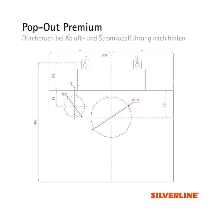 Durchbruch bei Abluft- und Stromkabelführung nach hinten (ohne Montage des Schachts) Pop-Out Premium