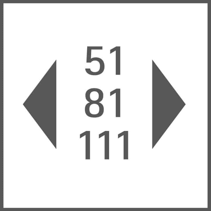 Gerätebreite 51 cm, 81 cm, 111 cm