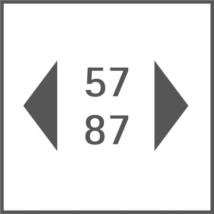 Gerätebreite 57 cm, 87 cm