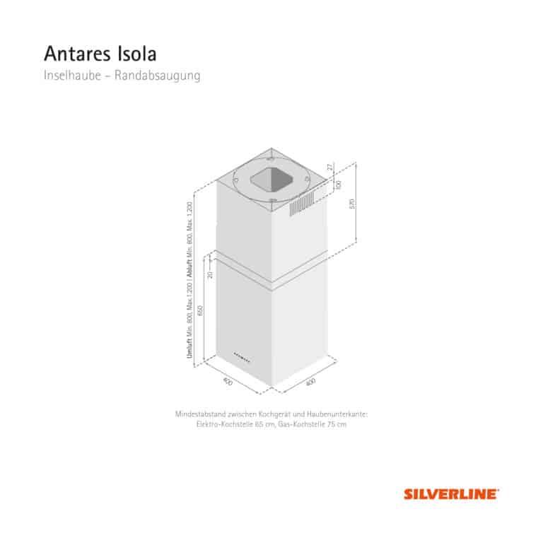 Maßzeichnung Antares Isola Mindestabstand zwischen Kochgerät und Haubenunterkante: Elektro-Kochstelle 65 cm, Gas-Kochstelle 75 cm
