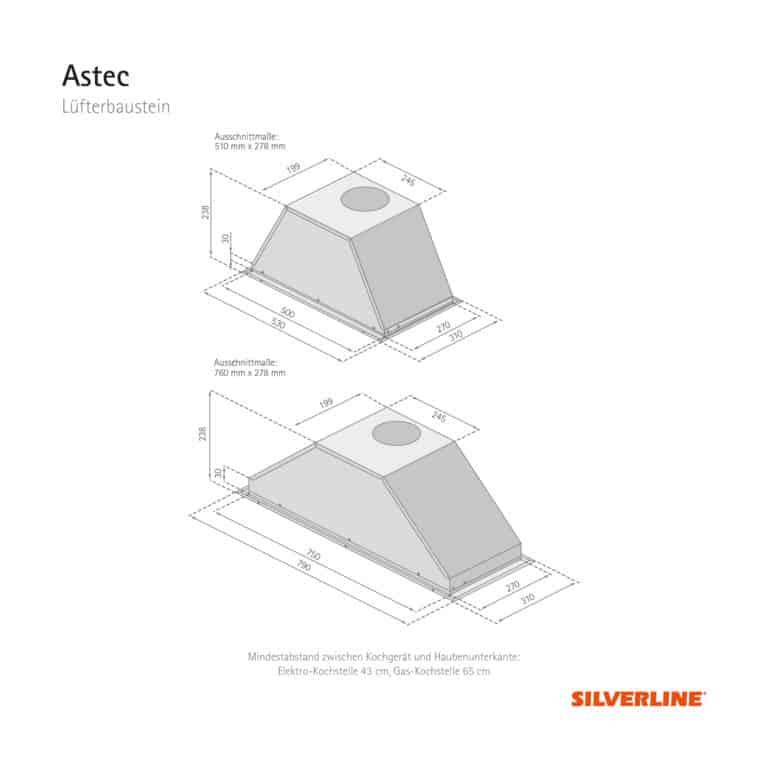 Maßzeichnung Astec Mindestabstand zwischen Kochgerät und Haubenunterkante: Elektro-Kochstelle 43 cm, Gas-Kochstelle 65 cm