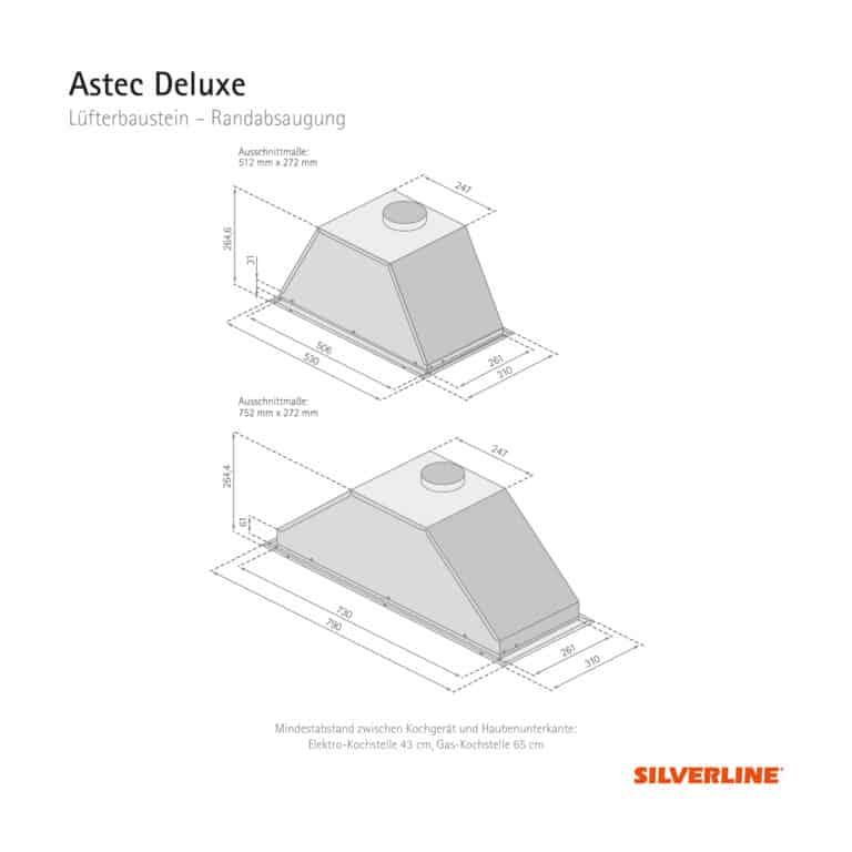 Maßzeichnung Astec Deluxe Mindestabstand zwischen Kochgerät und Haubenunterkante: Elektro-Kochstelle 43 cm, Gas-Kochstelle 65 cm