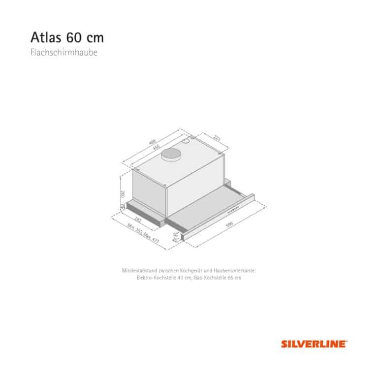 Maßzeichnung Atlas 60 cm Mindestabstand zwischen Kochgerät und Haubenunterkante: Elektro-Kochstelle 43 cm, Gas-Kochstelle 65 cm