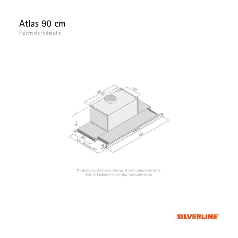 Maßzeichnung Atlas 90 cm Mindestabstand zwischen Kochgerät und Haubenunterkante: Elektro-Kochstelle 43 cm, Gas-Kochstelle 65 cm