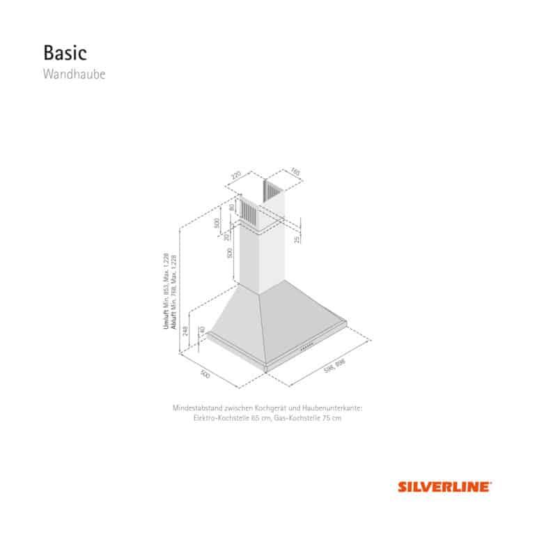 Maßzeichnung Basic Mindestabstand zwischen Kochgerät und Haubenunterkante: Elektro-Kochstelle 65 cm, Gas-Kochstelle 75 cm
