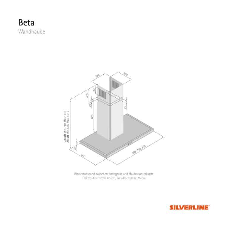 Maßzeichnung Beta Mindestabstand zwischen Kochgerät und Haubenunterkante: Elektro-Kochstelle 65 cm, Gas-Kochstelle 75 cm