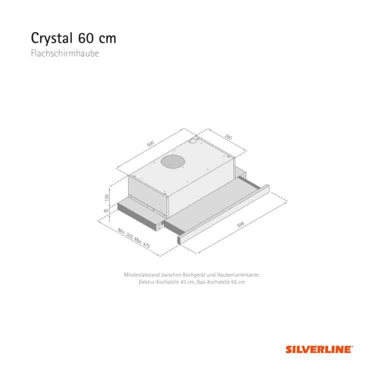 Maßzeichnung Crystal 60 cm Mindestabstand zwischen Kochgerät und Haubenunterkante: Elektro-Kochstelle 43 cm, Gas-Kochstelle 65 cm