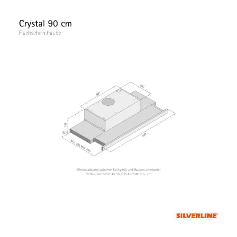 Maßzeichnung Crystal 90 cm Mindestabstand zwischen Kochgerät und Haubenunterkante: Elektro-Kochstelle 43 cm, Gas-Kochstelle 65 cm