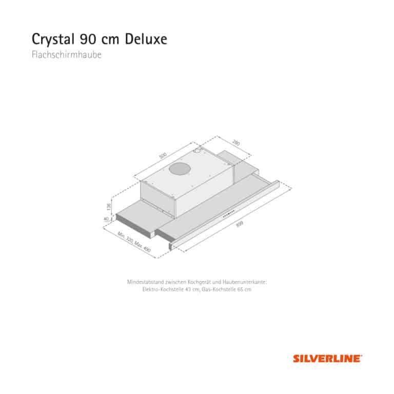 Maßzeichnung Crystal 90 cm Deluxe Mindestabstand zwischen Kochgerät und Haubenunterkante: Elektro-Kochstelle 43 cm, Gas-Kochstelle 65 cm
